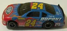 Life Like Dupont Chevy Monte Carlo stocker HO slotcar in blue with red flames #24