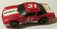 Rokar Oldsmobile stock car HO slotcar in red with white #31